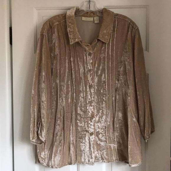 ba3ddeb883 J. Jill Tops - EUC J.Jill crushed velvet pleated shirt